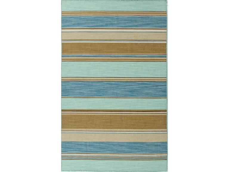 Jaipur Rugs Flat Weave Stripe Pattern Wool Blue Tan Area Rug 8x10