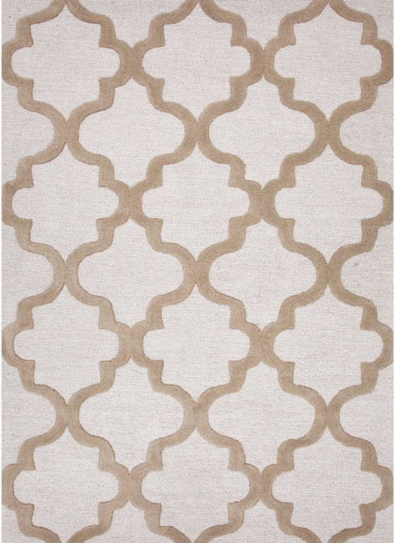 Jaipur Rugs Hand Tufted Geometric Pattern Wool Ivory Taupe Area Rug Ct19