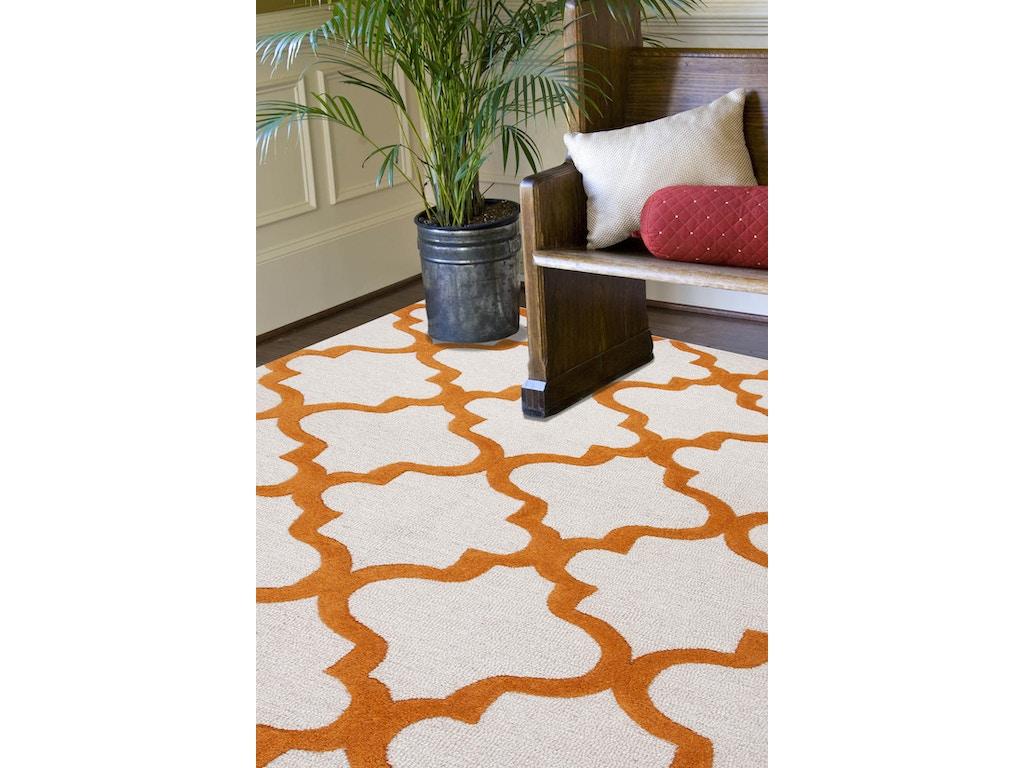 Jaipur Rugs Hand Tufted Geometric Pattern Wool Ivory Orange Area Rug 5x8