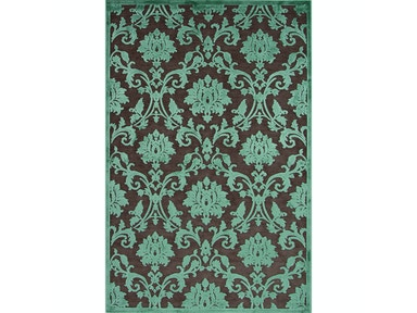 Jaipur Rugs Jaipur Machine Made Floral Pattern Brown/Blue Rayon/Chenille Area Rug FB86