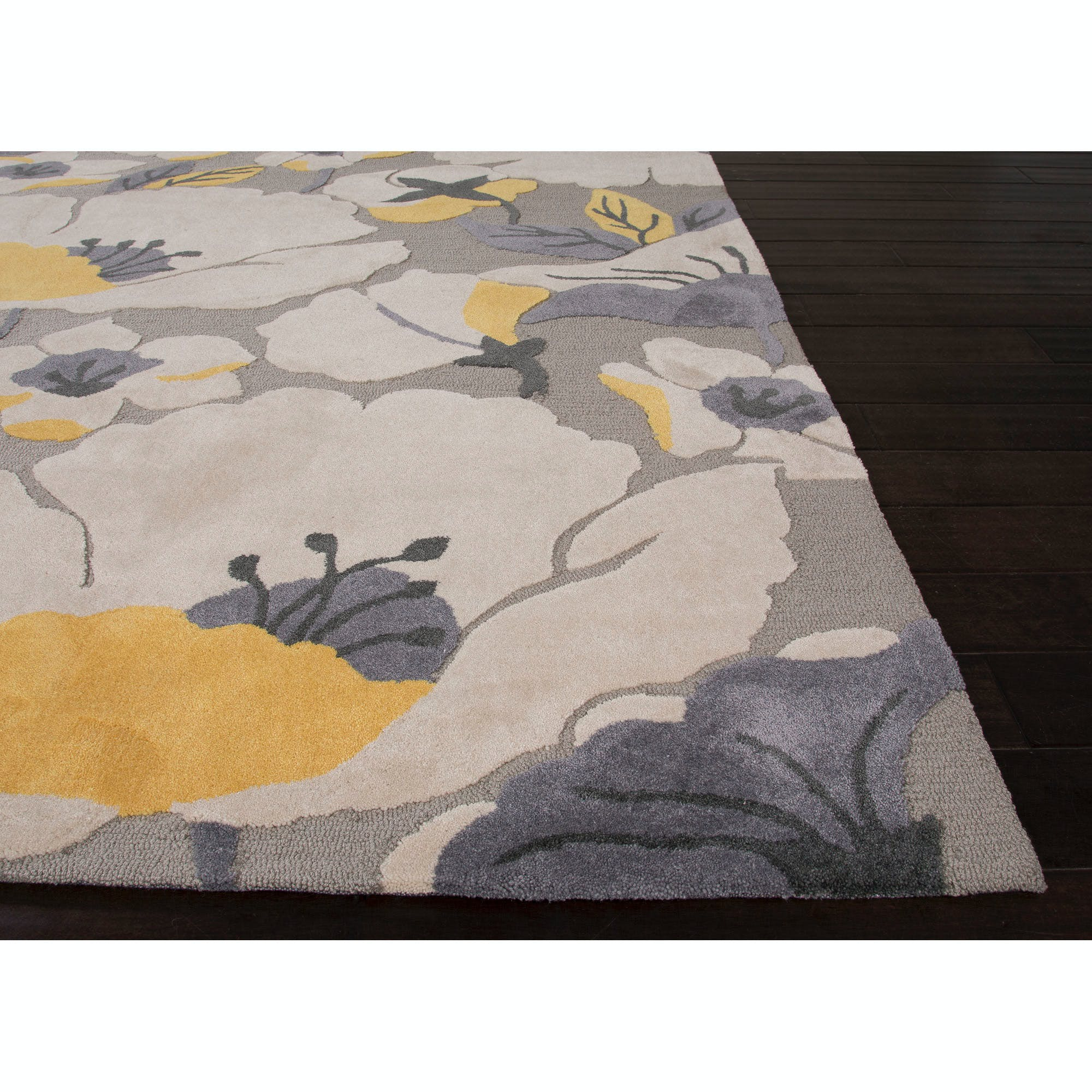 Picture of: Jaipur Rugs Floor Coverings Jaipur Hand Tufted Floral Pattern Gray Yellows Gold Polyester 5×7 6