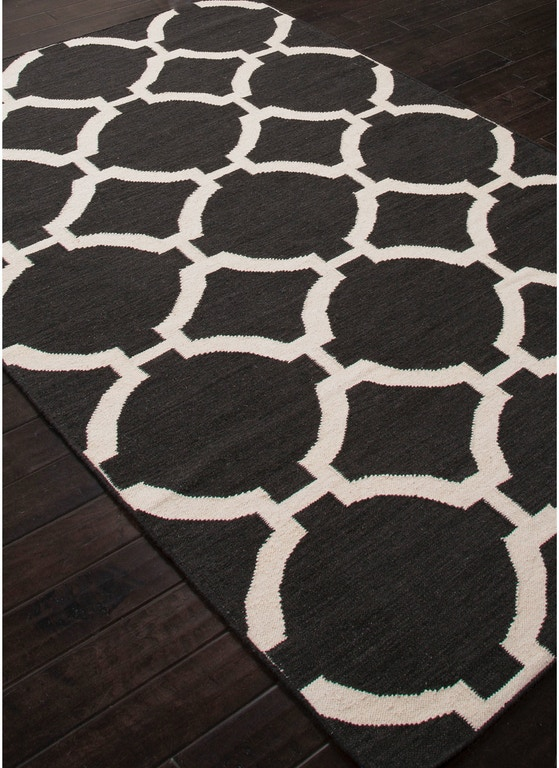 Jaipur Rugs Flat Weave Geometric Pattern Black Ivory White Wool Area Rug