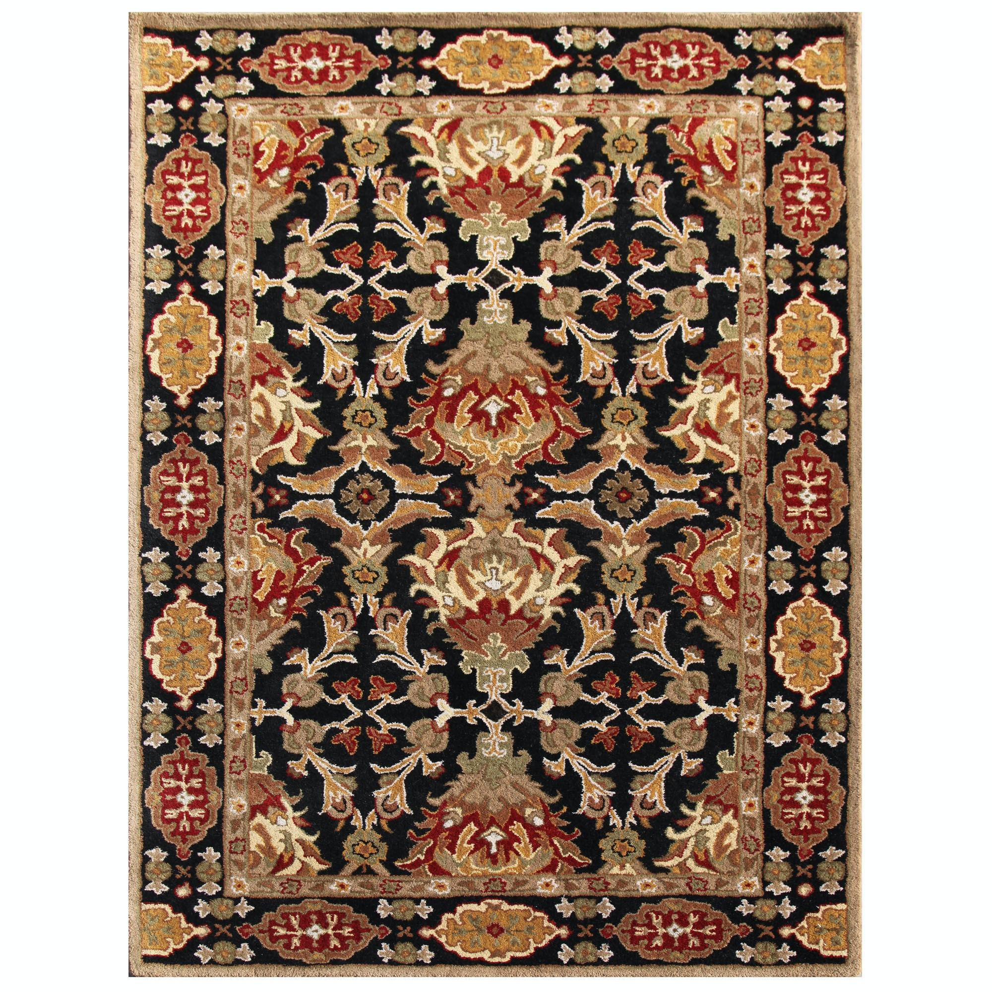 Jaipur Rugs Floor Coverings Hand Tufted Durable Wool Black Red Area
