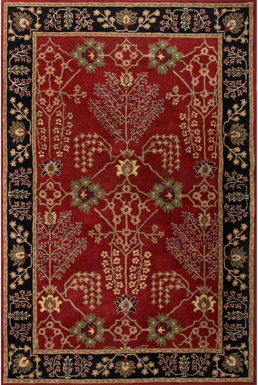 Jaipur Rugs Floor Coverings Hand Tufted Arts And Craft Pattern Wool Red Black Area Rug 2x3