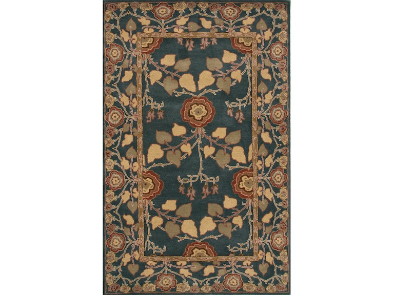 Jaipur Rugs Hand Tufted Arts And Crafts Pattern Blue Wool Area Rug Pm133