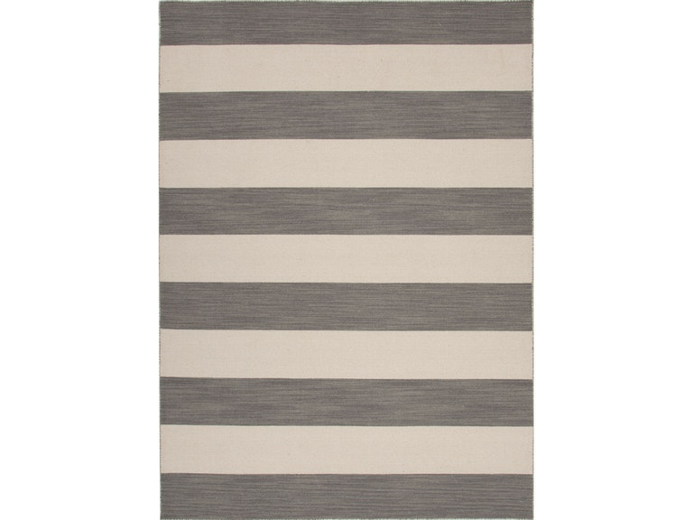 Jaipur Rugs Flat Weave Stripe Pattern Wool Gray Ivory Area Rug 8x10