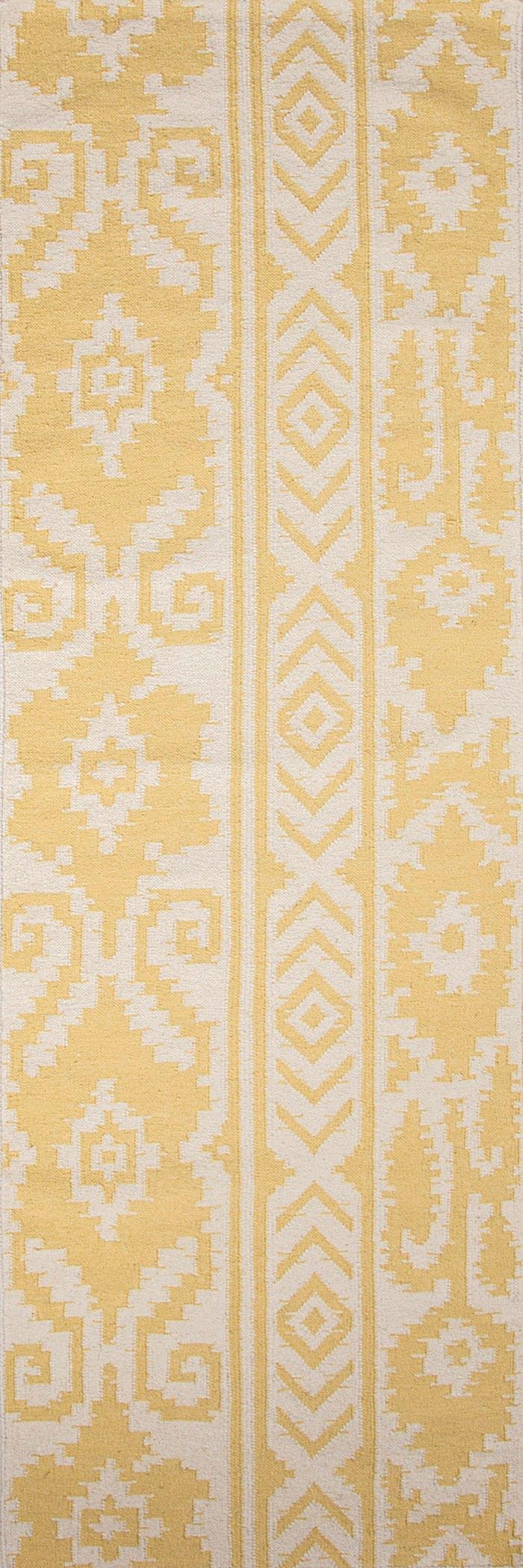 Picture of: Jaipur Rugs Floor Coverings Flat Weave Tribal Pattern Wool Yellow Ivory Area Rug 8×10