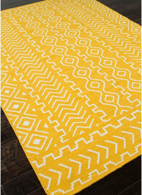 Jaipur Rugs Flat Weave Tribal Pattern Wool Yellow Ivory Area Rug 8x10