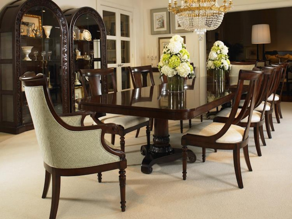 Century furniture dining room double pedestal dining table for Dining room tables milwaukee