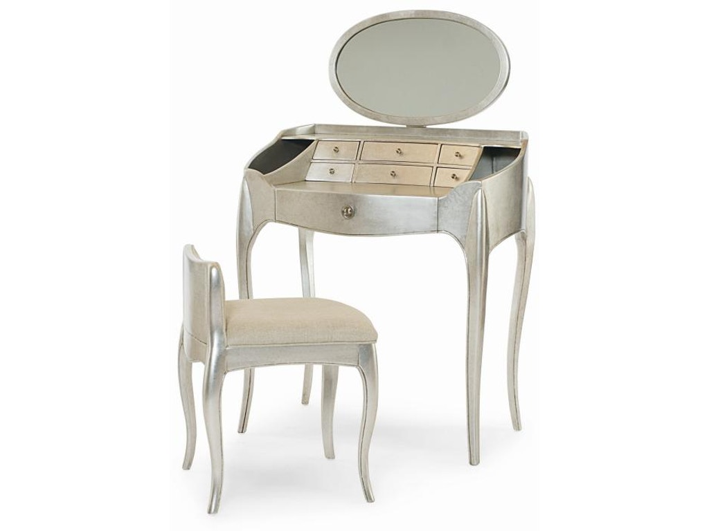 Century furniture bedroom pierre vanity with mirror and for Vanity with chair and mirror