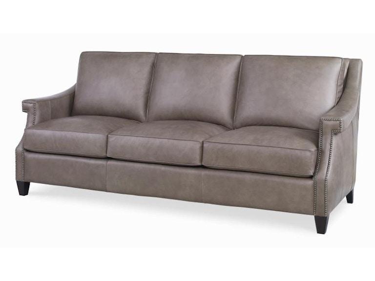 Century Furniture Transitional Leather Sofa 3 Plr 9902 Ash