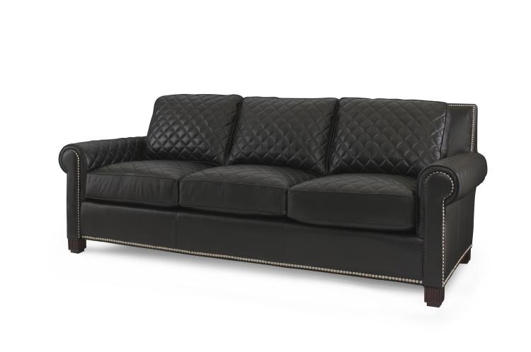 Century Furniture Living Room Leather Quilted Sofa Plr 5702 Black