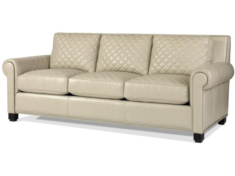 Century Furniture Leather Quilted Sofa Plr 5702 Frost
