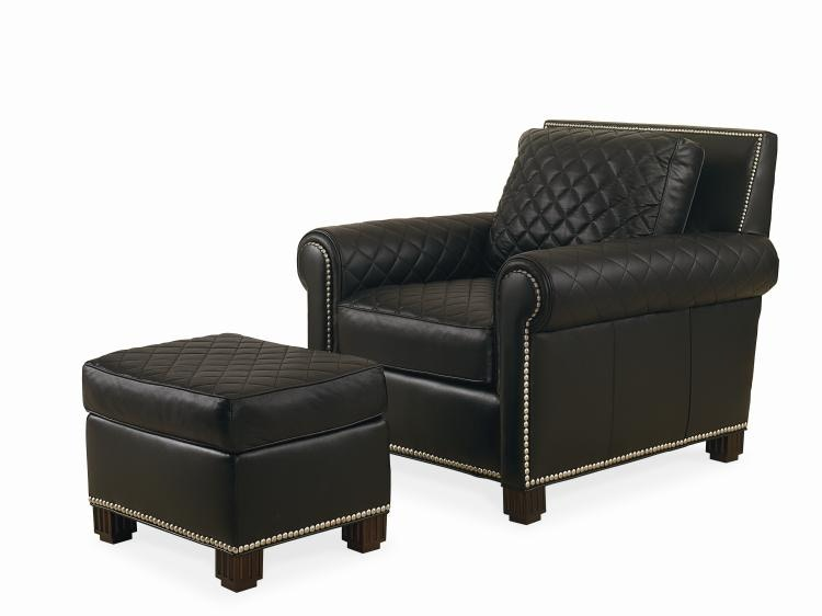 Century Furniture Living Room Leather Chair With Ottoman PLR57CO
