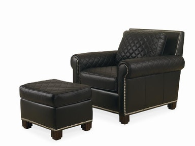 Century Furniture Leather Chair With Ottoman PLR-57CO-BLACK