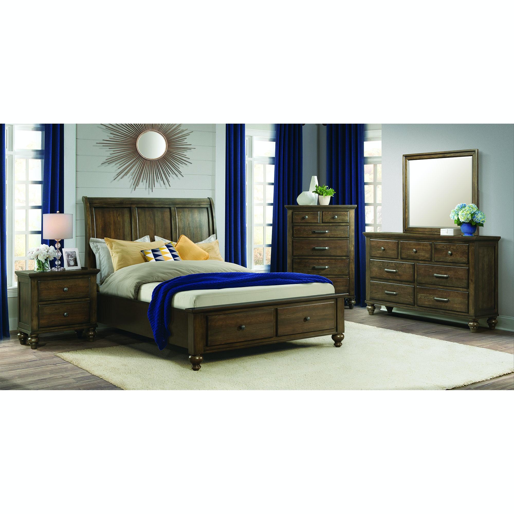 Elements International Chatham Grey Storage Bedroom Including Dresser,  Mirror, Chest, Night Stand U0026