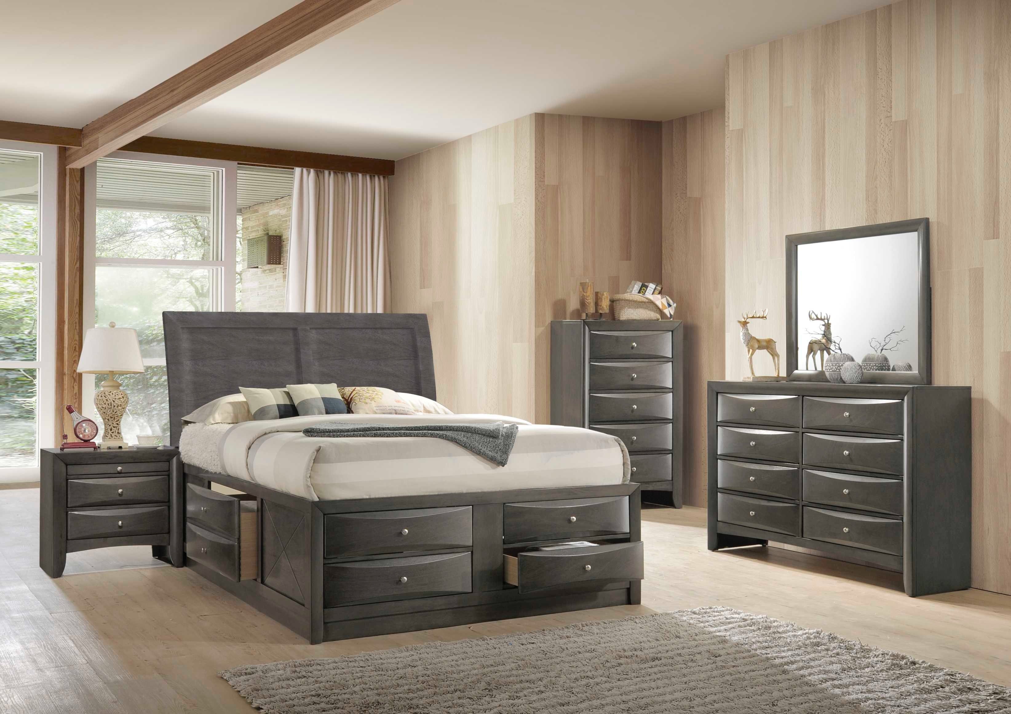Elements International Emily Grey Storage Bedroom Including Queen Storage  Bed, Dresser, Mirror, Chest