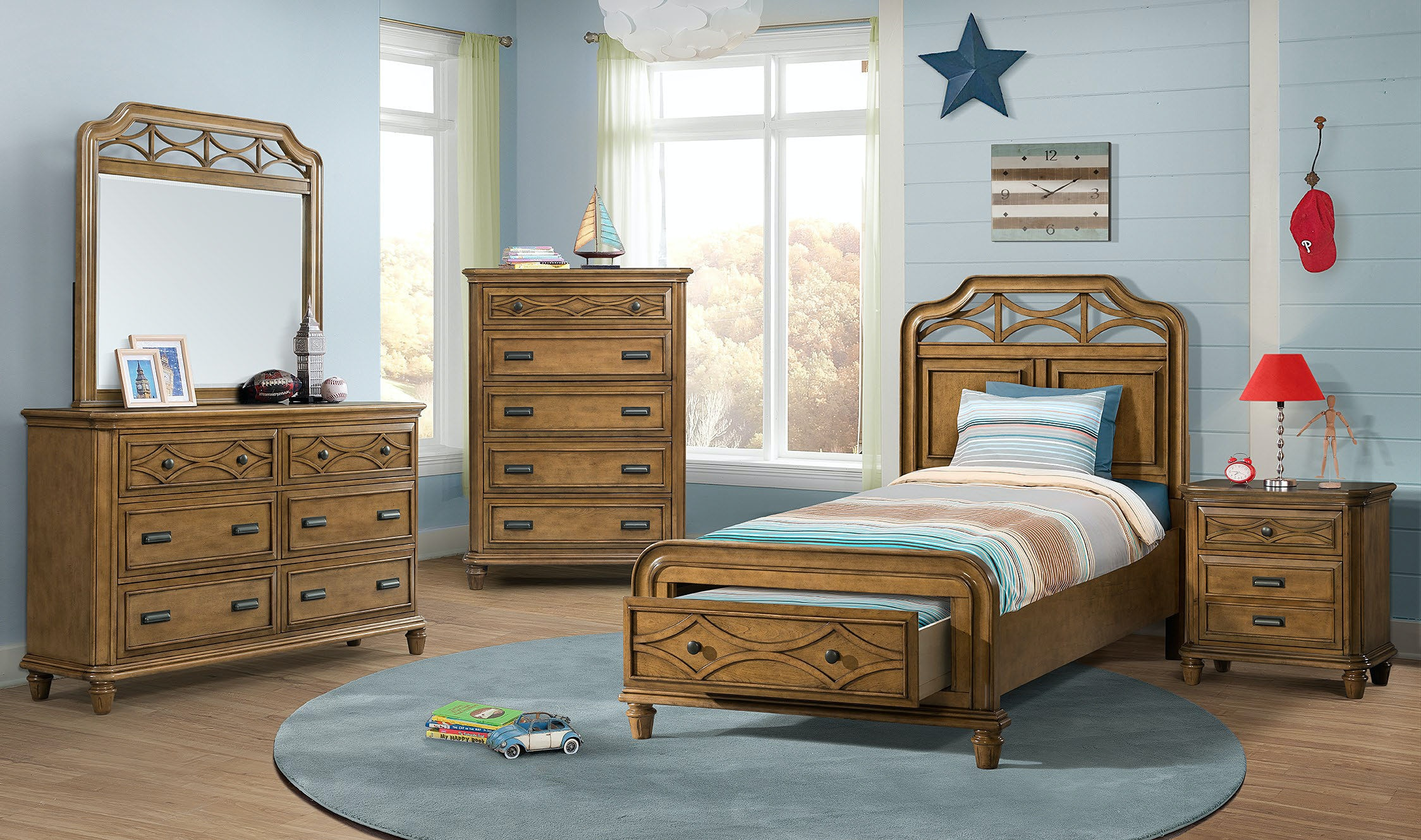 Elements International Mystic Bay Storage Honey Bedroom Including Dresser Mirror Chest Queen Bed u0026 Night Stand & Elements International Mystic Bay Storage Honey Bedroom Including ...