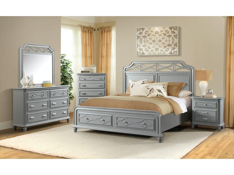 Elements International Mystic Bay Storage Gray Bedroom