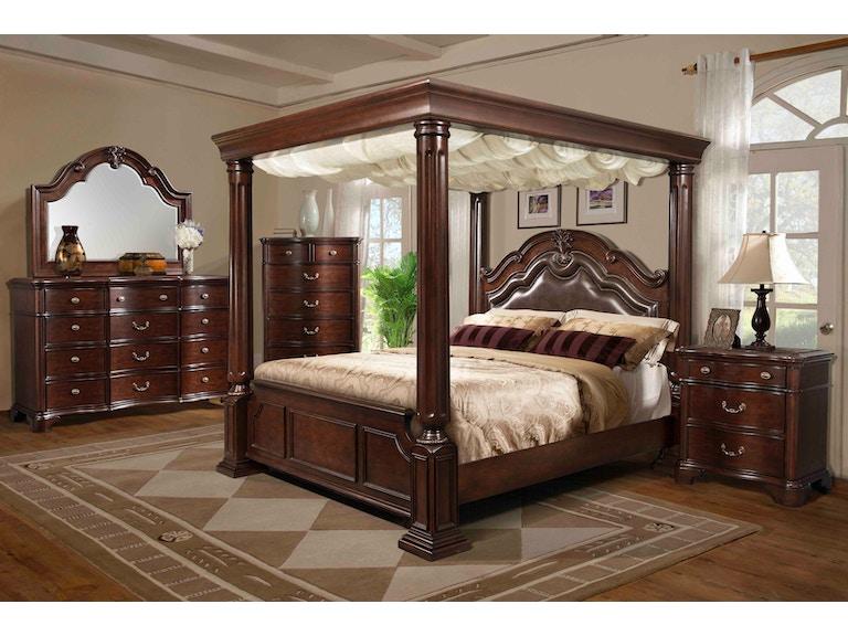 Elements International Tabasco Wooden Canopy Bedroom