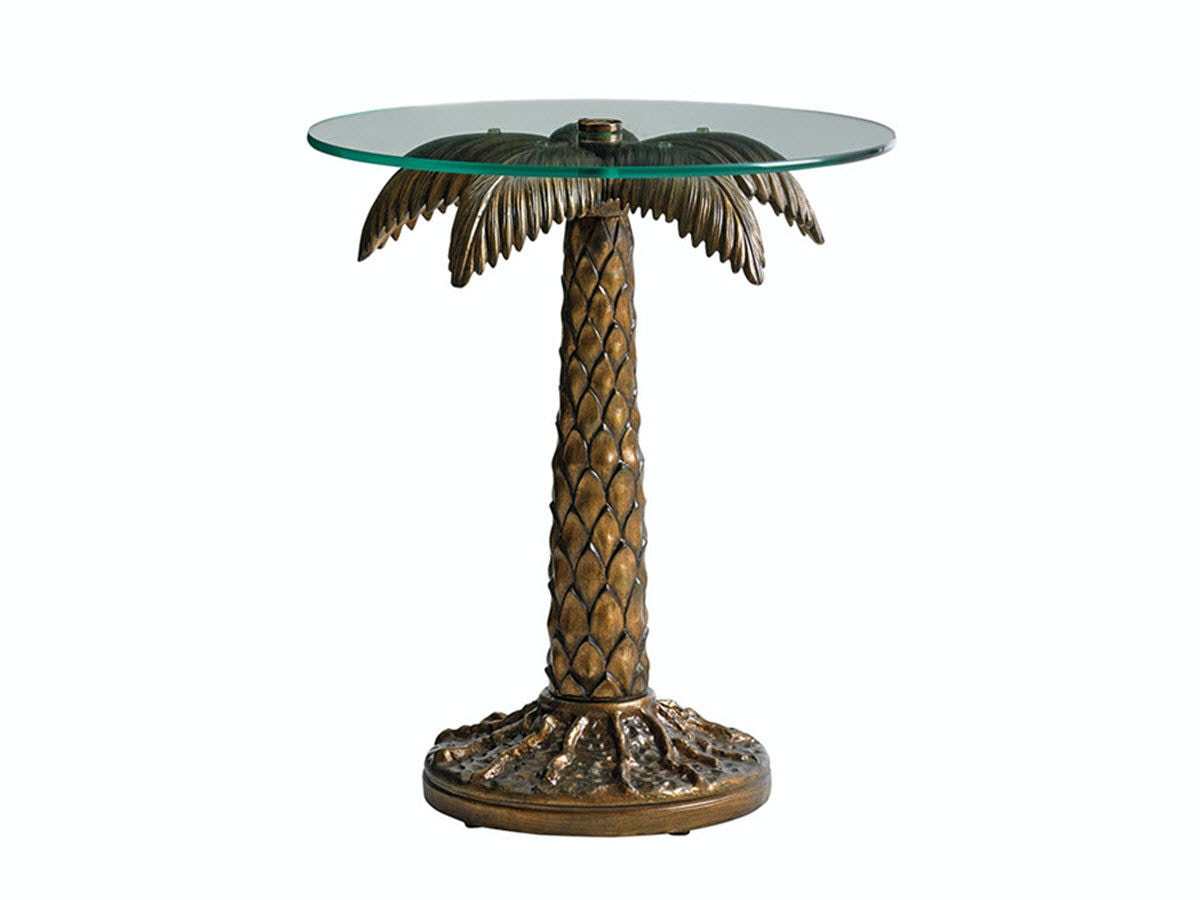 Tommy Bahama Outdoor Living Palm Tree Table With Tempered Glass Top 3100 204