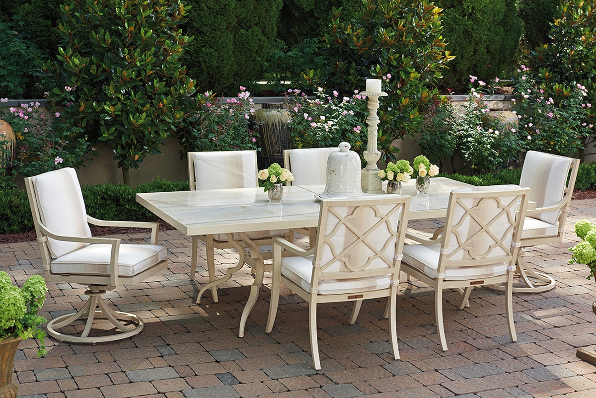 Tommy Bahama Outdoor Living Rectangular Dining Table Inset Porcelain Tops  3239 877PT