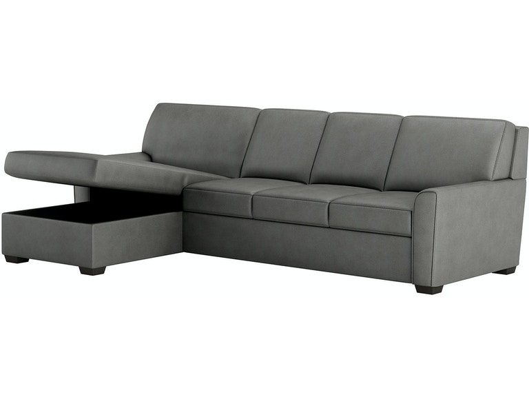 American Leather 2 Piece Sleeper Sectional With Storage Queen Plus Size Kle Sect1