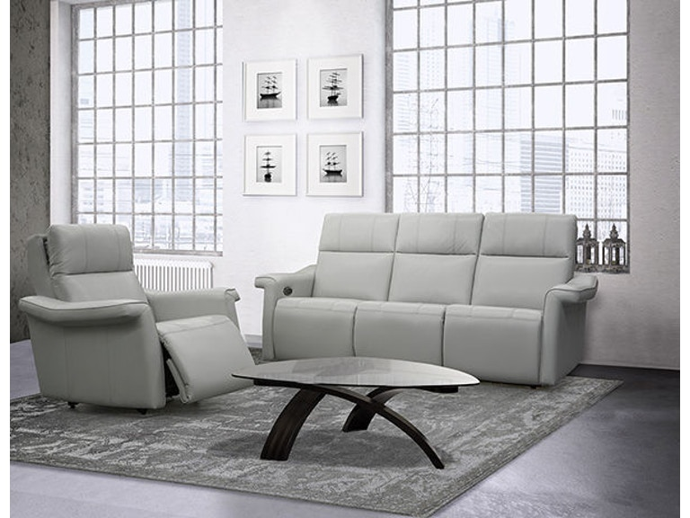 Elran Living Room Power Reclining Sofa W Power Headrest