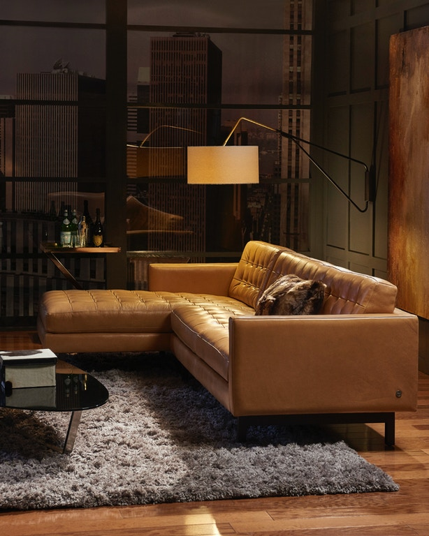 American Leather Living Room Parker Sectional Pkr Sect1 At Penny Mustard