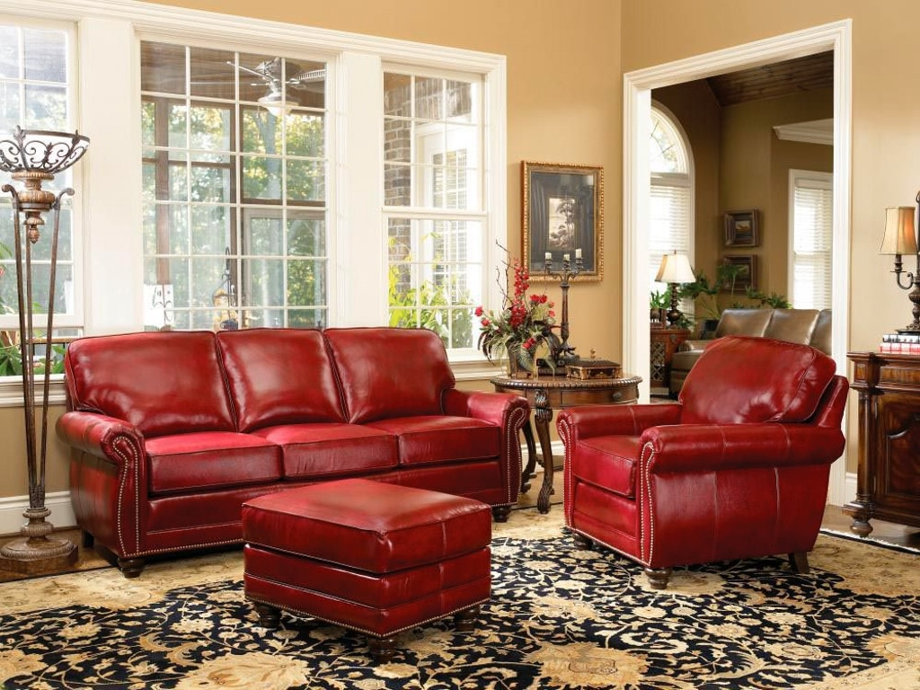 Smith brothers living room 302 sofa sb302 10 penny for Decorating with red leather furniture