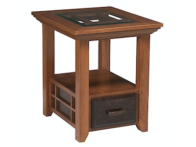 Abalone Ritta 1 Drawer Glass End Table SC2151