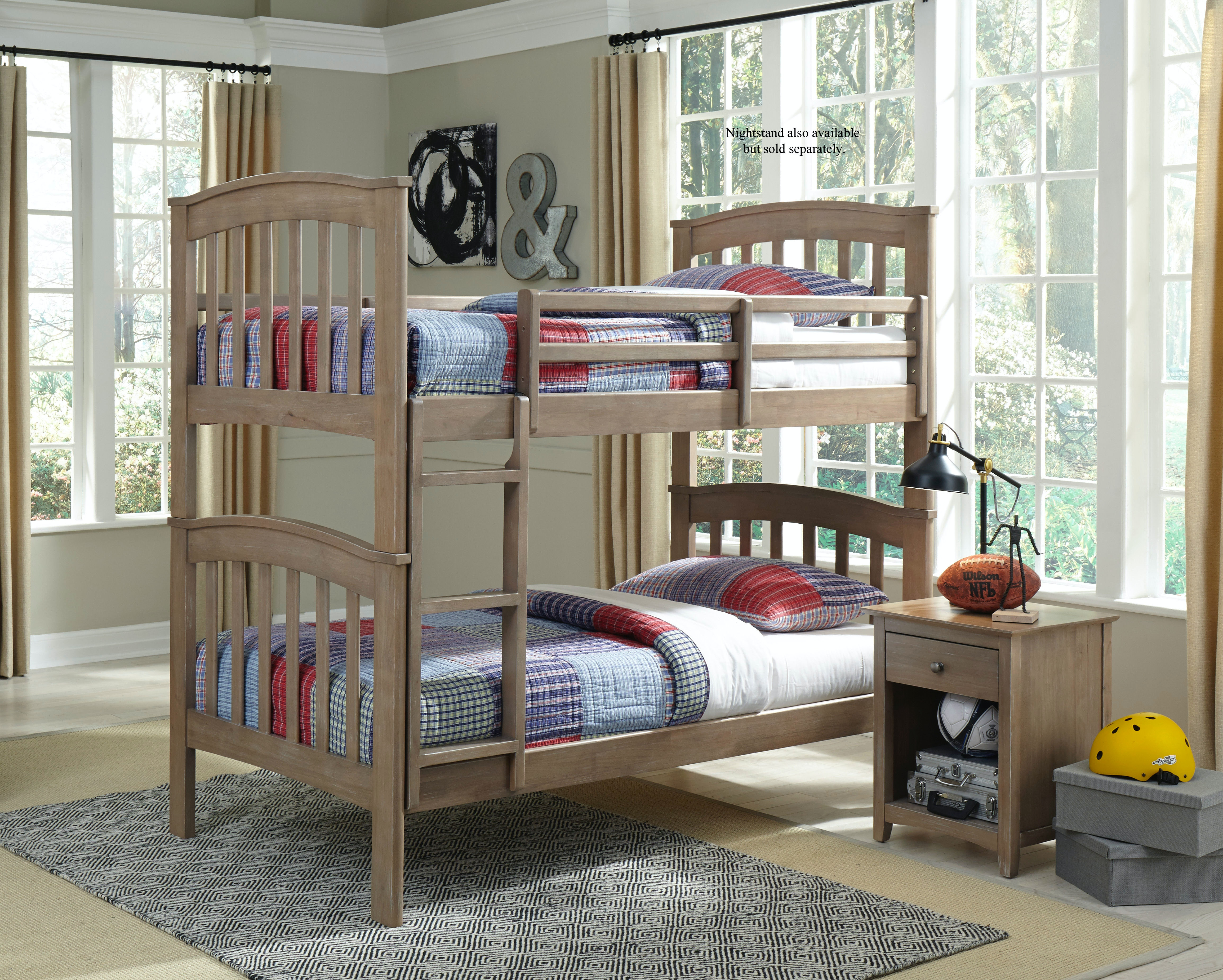 John Thomas Bedroom Bunk Bed In Taupe Gray W/ Unfinished Slats BD09 80BUNKE  / BE09 80BUNKR /