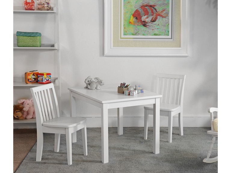 John Thomas Youth Bedroom Juvenile Table and Chairs in White ...