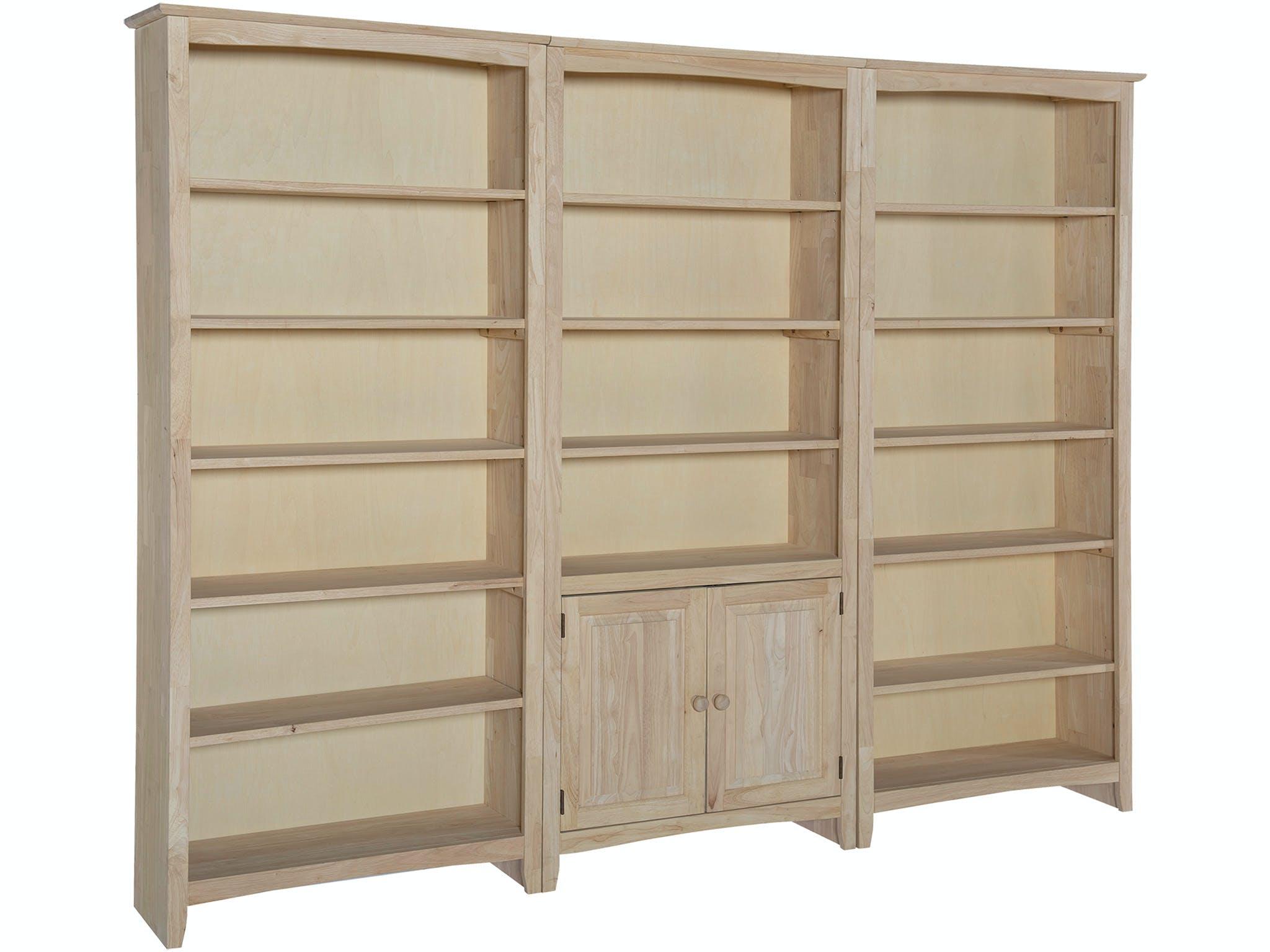John Thomas Home Office 72 Inch High Bookshelf X3 Bookshelf Units With Pair Of Bookcase Doors