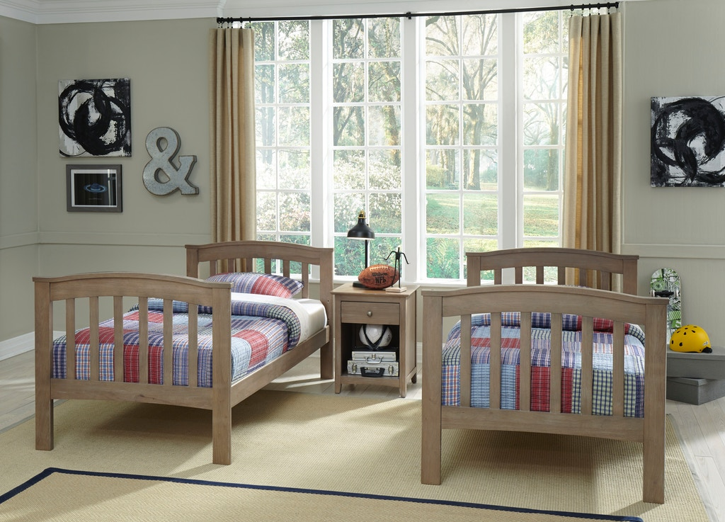 John Thomas Bedroom Bunk Bed In Taupe Gray W Unfinished Slats Bd09