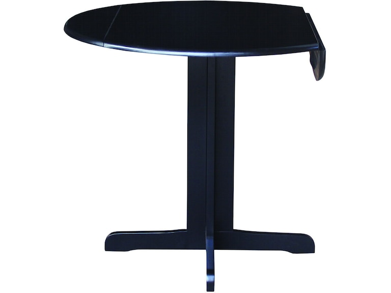John Thomas Dining Room Round Dropleaf Pedestal Table In Black T46