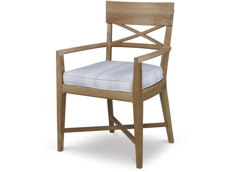 Century Furniture Outdoor Patio West Bay Teak Dining Arm Chair Pad D43 52 At Warren Barnett Interiors