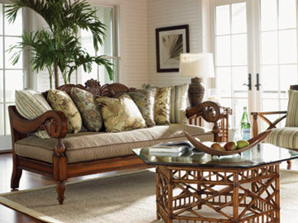 tommy bahama home living room key largo cocktail table with glass top 531 947c flemington. Black Bedroom Furniture Sets. Home Design Ideas
