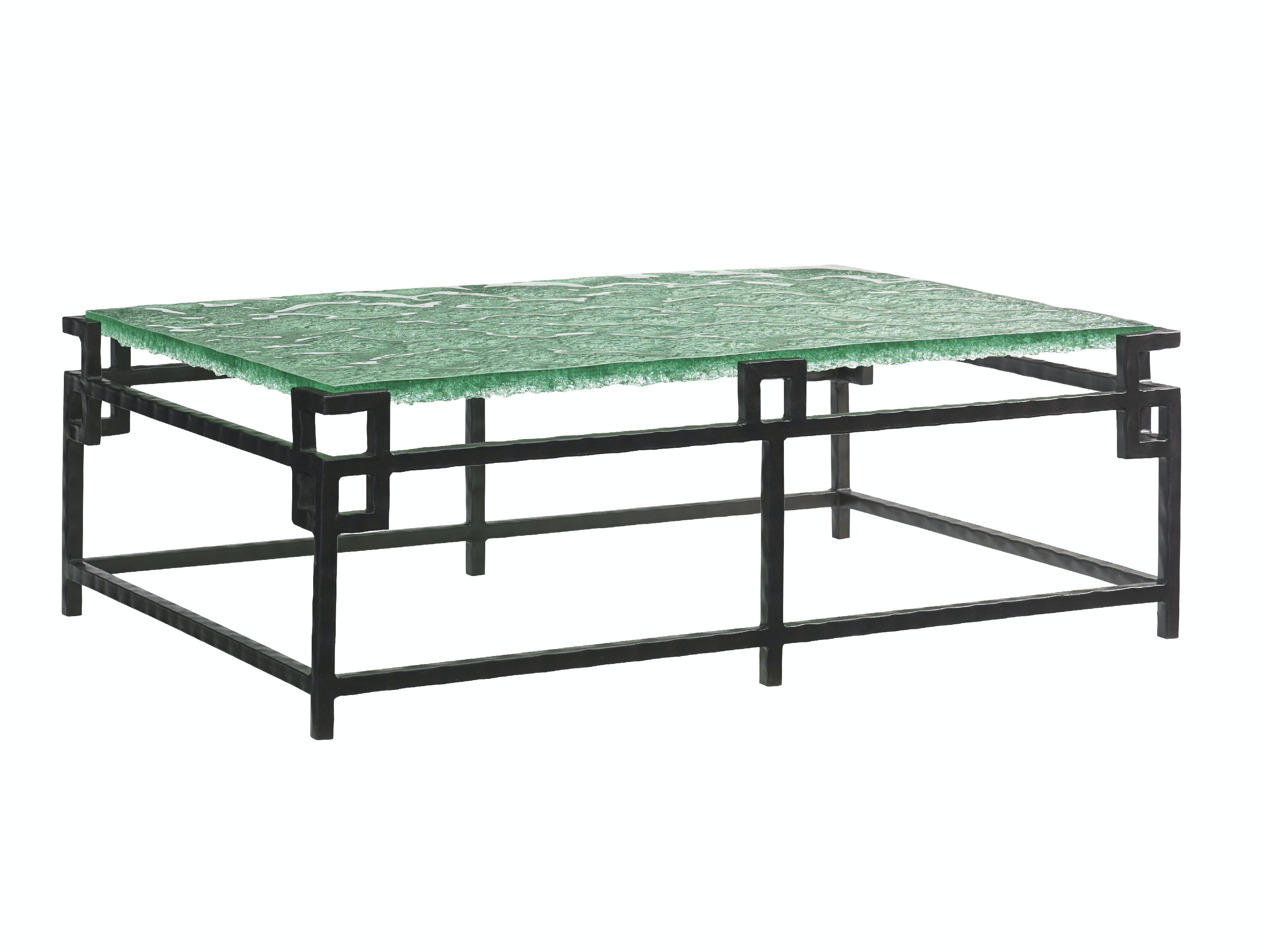 Tommy Bahama Home Living Room Hermes Reef Glass Top Cocktail Table
