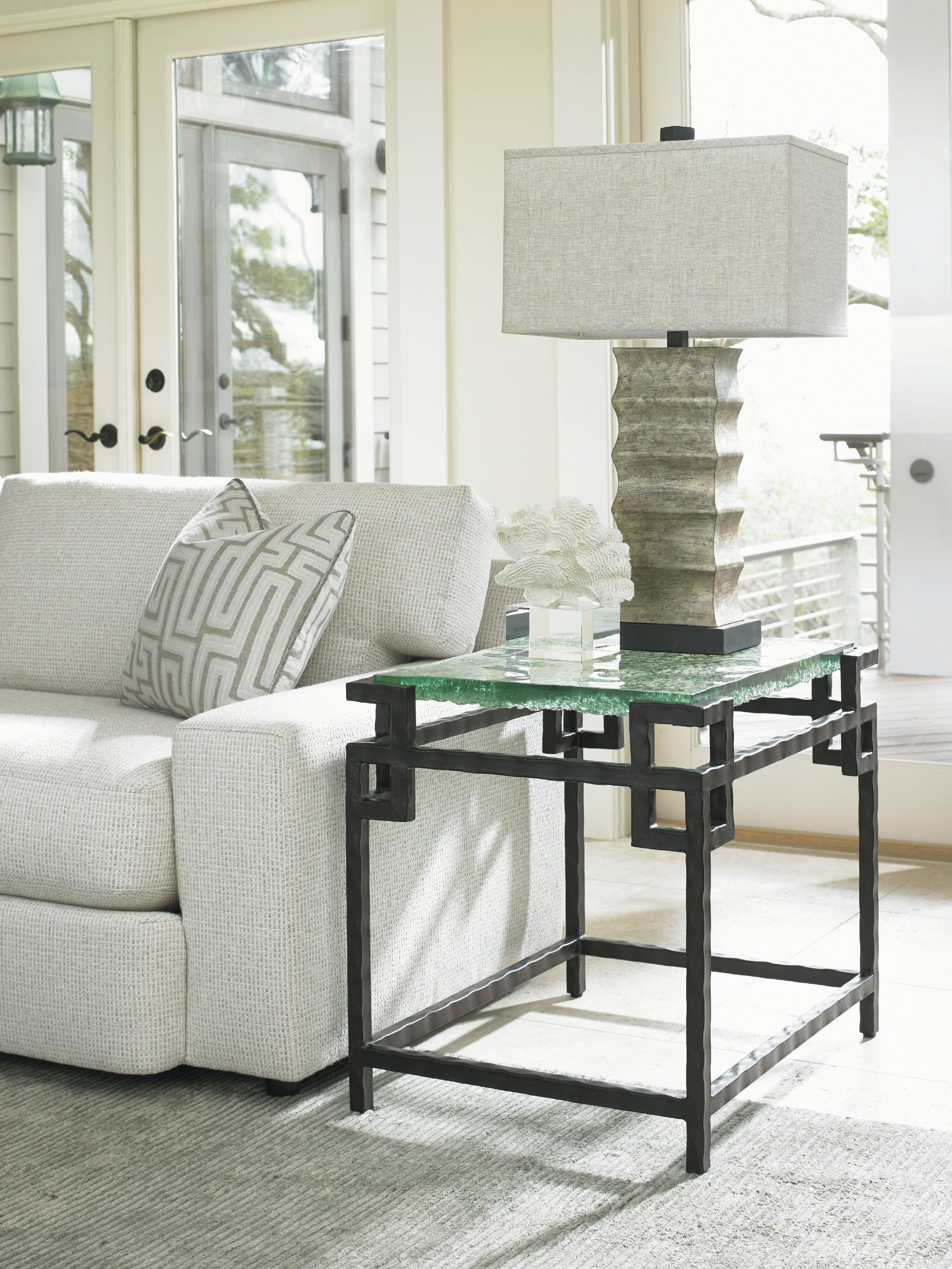 Tommy Bahama Home Hermes Reef Glass Top End Table 556 953C