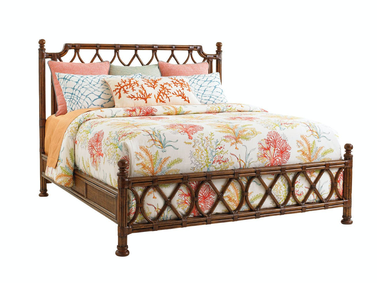 Tommy Bahama Home Bedroom Island Breeze Rattan Bed 6 6 King 593 134c Cottswood Interiors