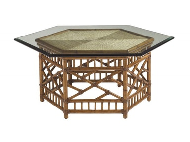 Tommy Bahama Home Key Largo Cocktail Table With Glass Top 531-947C