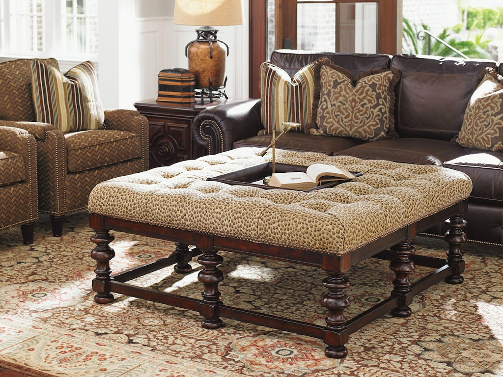 Tommy bahama home living room heather cocktail ottoman for Footstool living room