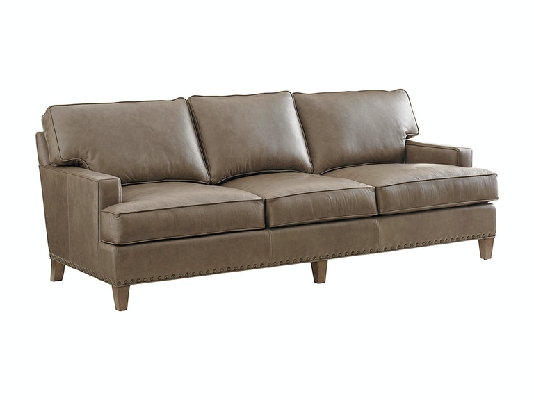 Tommy Bahama Home Living Room Hughes Leather Sofa 9012 33 01 Howell Furniture Beaumont And