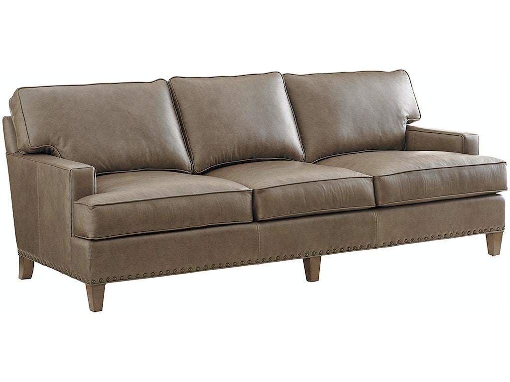 Tommy Bahama Home Living Room Hughes Leather Sofa 9012 33