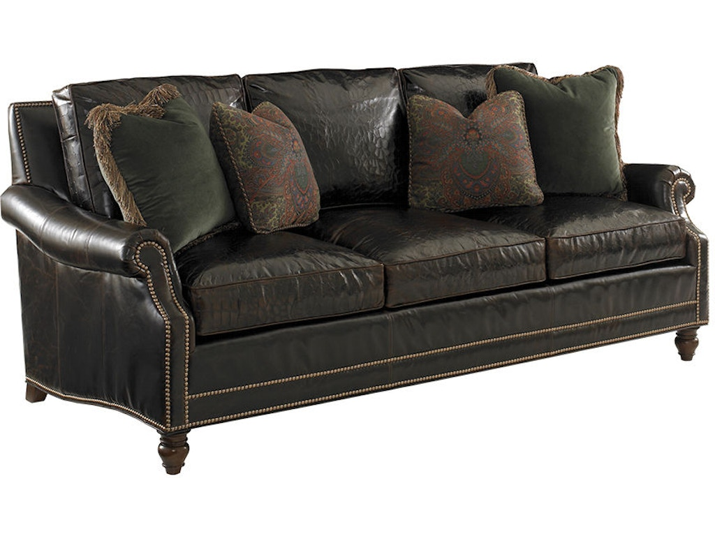 Tommy bahama home living room sedona leather sofa ll7722 for Leather sofa michigan