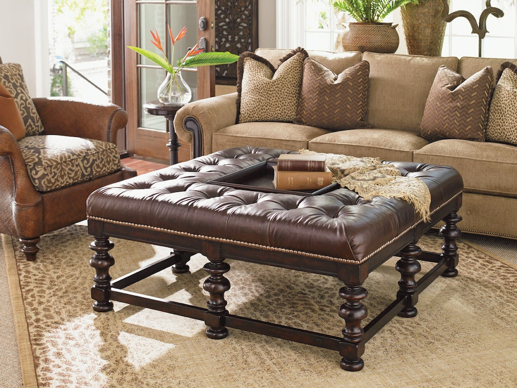 Tommy Bahama Living Room Furniture Tommy Bahama Home Living Room Heather Leather Cocktail Ottoman
