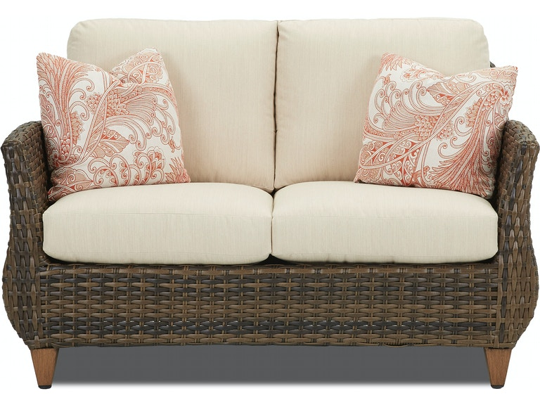 Klaussner Outdoor Patio Sycamore Loveseat W5100 Ls At Hamilton Sofa Leather Gallery
