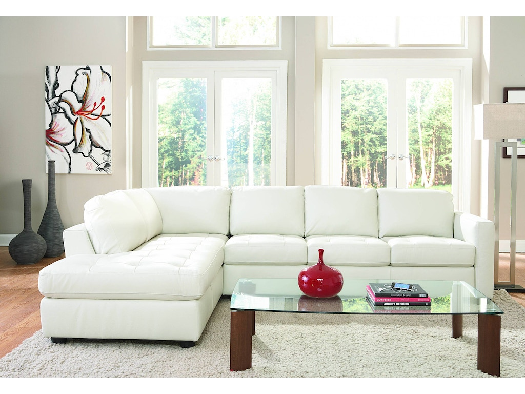 Living Room Denver 2 Piece Leather Sectional Ivory