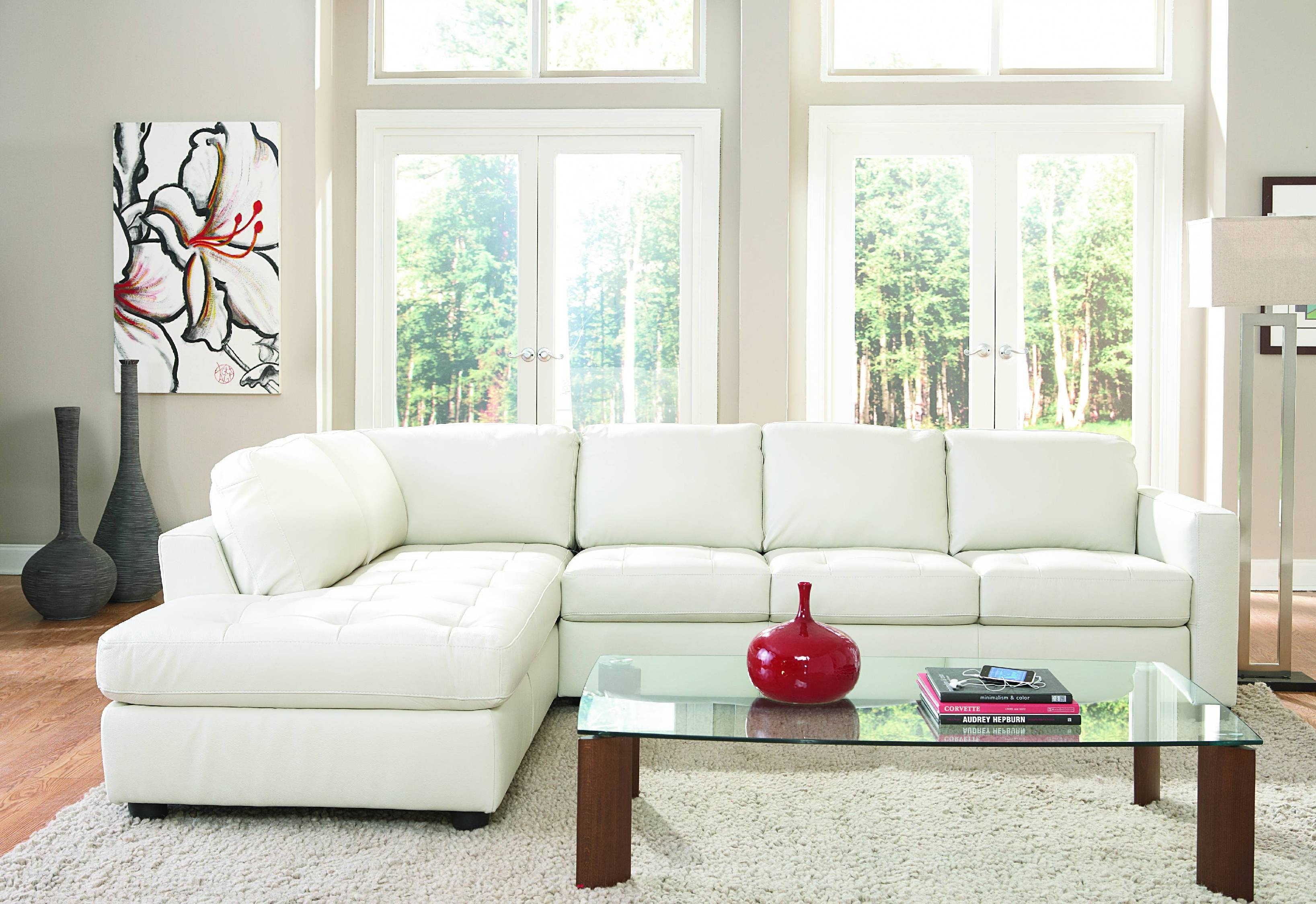 Awesome Denver 2 Piece Leather Sectional   IVORY